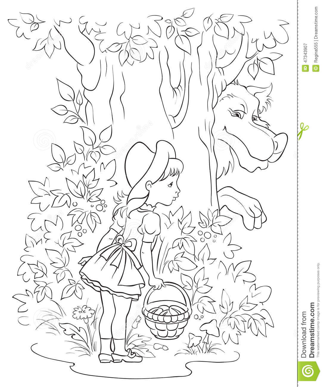 Little Red Riding Hood And Wolf Colouring Page Stock
