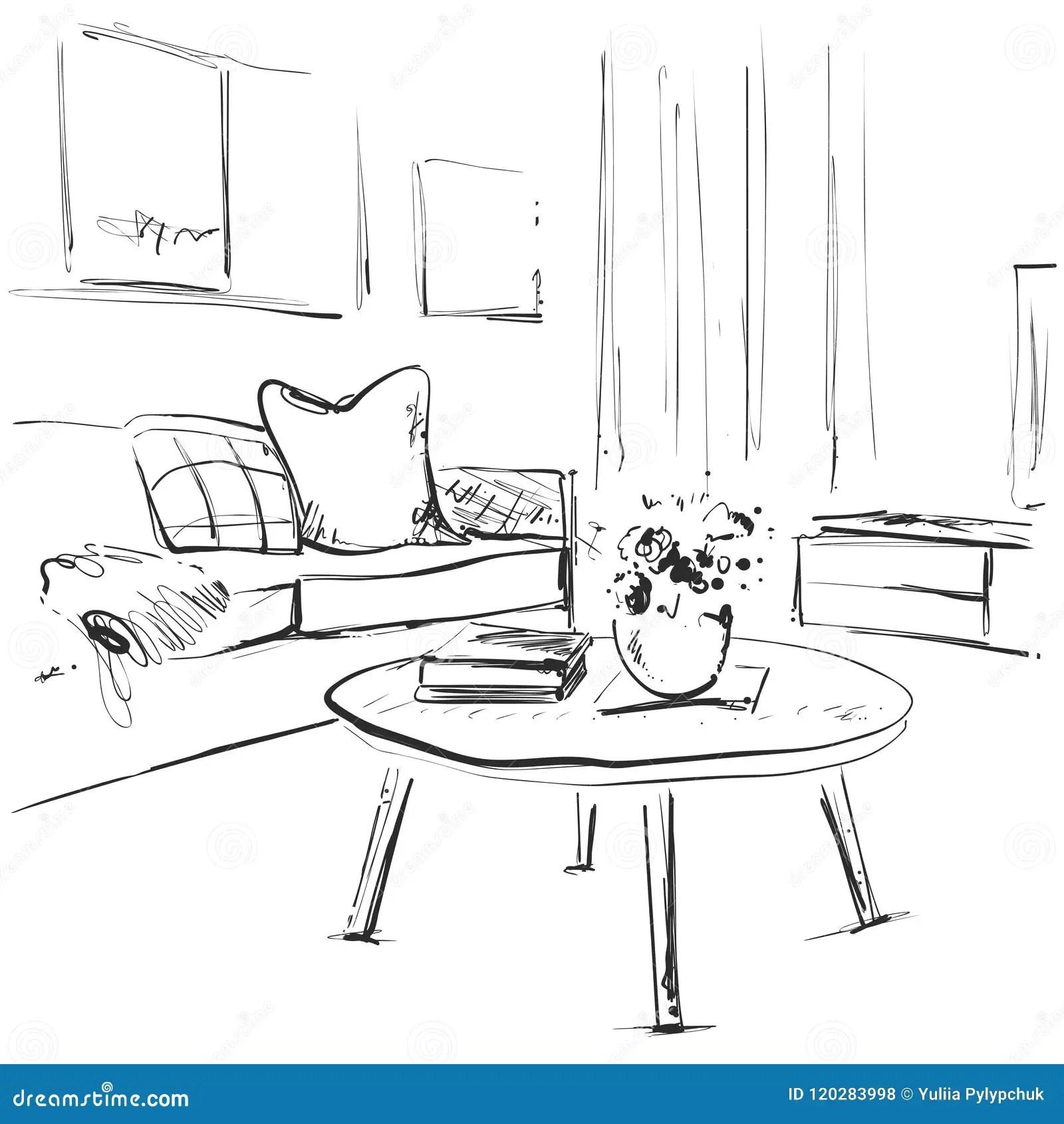 Living Room Graphic Black White Interior Sketch