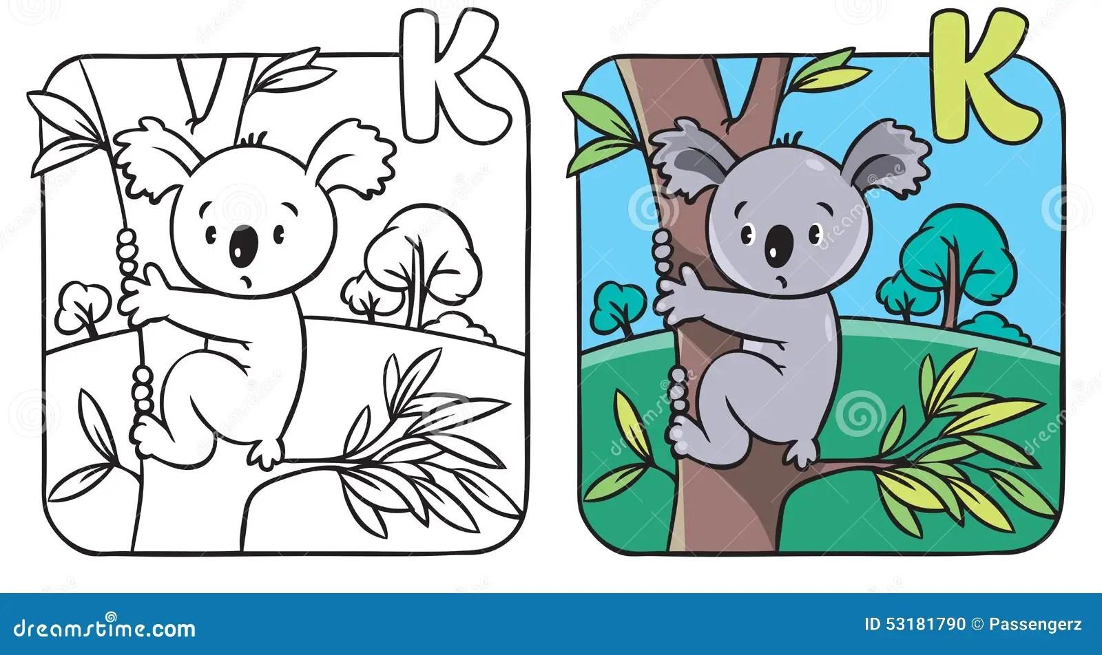 Livre De Coloriage Avec Le Koala Drole Alphabet K