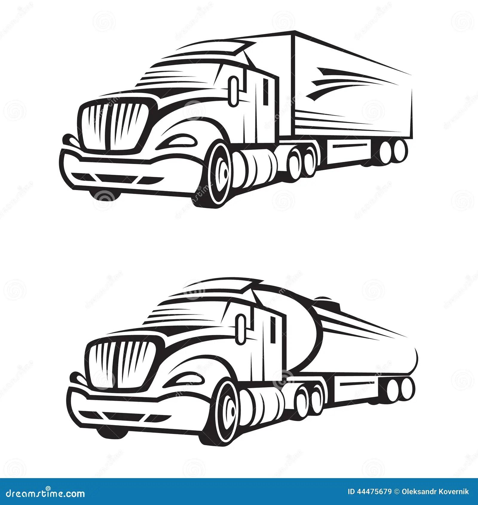 Lkw Und Tankwagen Vektor Abbildung Illustration Von