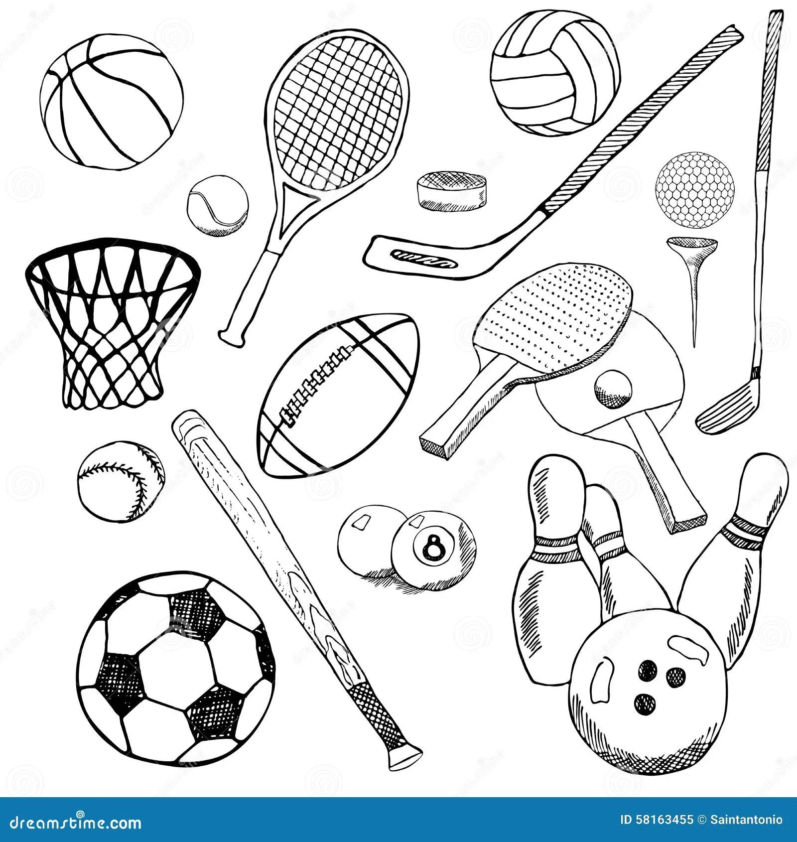 Lo Schizzo Disegnato A Mano Delle Palle Di Sport Ha Messo Con Baseball Il Bowling Il Calcio