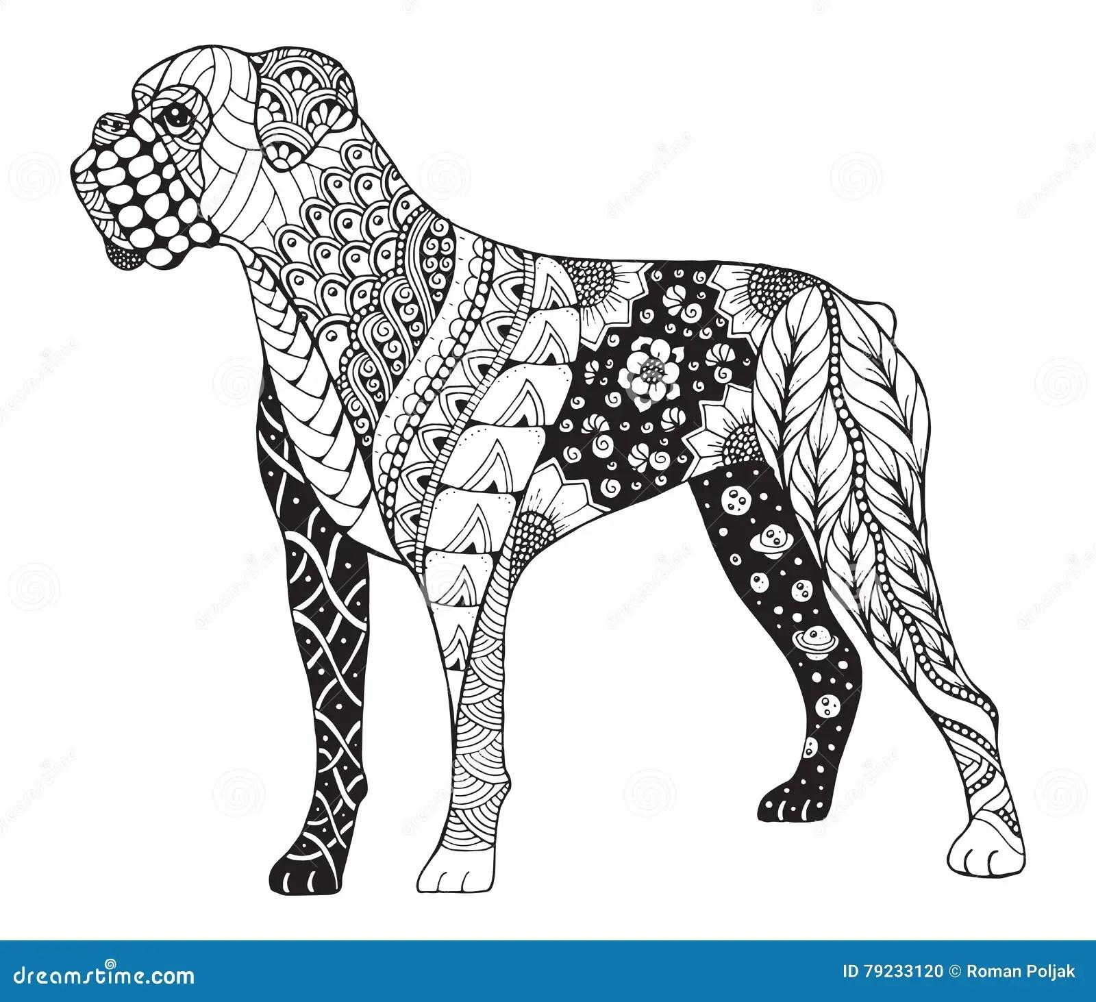 Lo Zentangle Del Cane Del Pugile Ha Stilizzato Vector