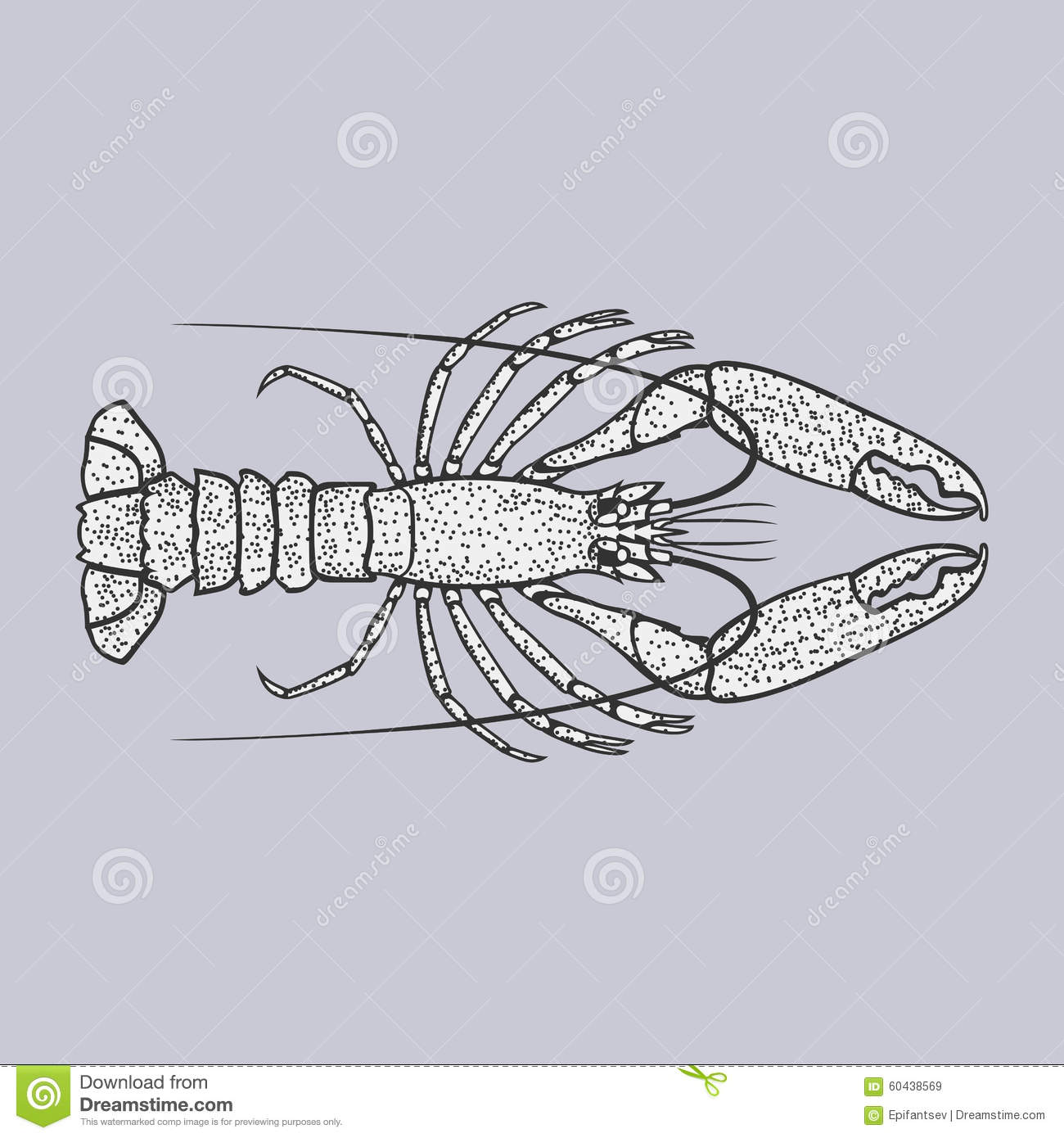 Lobster Or Crayfish Vector Illustration In Vintage Style