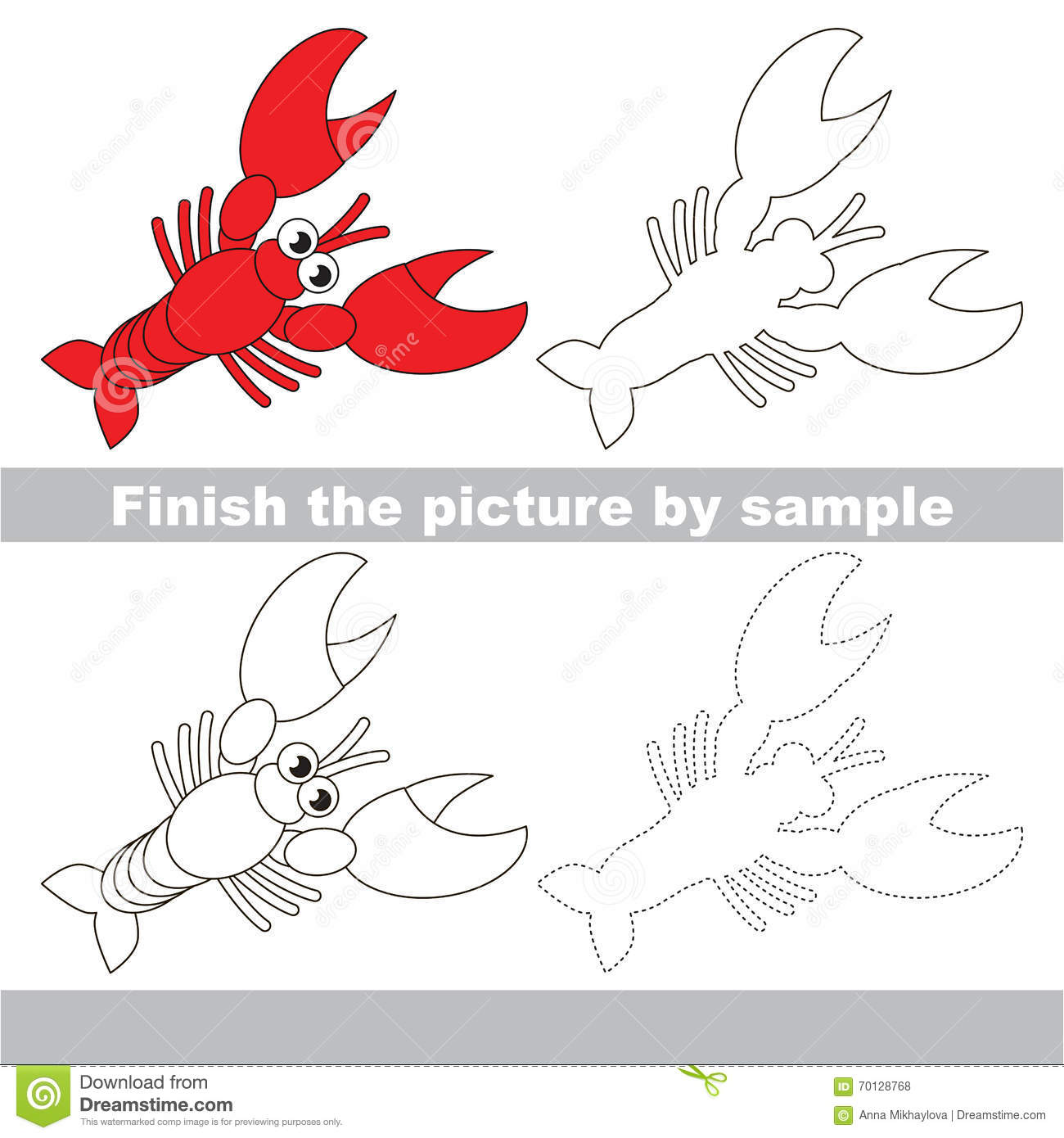 Lobster Drawing Worksheet Stock Vector