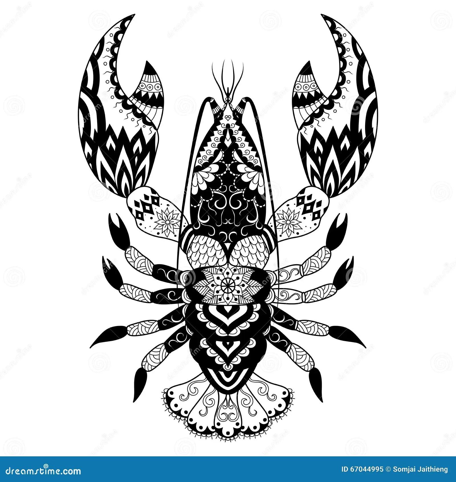 Lobster Line Art Design For Coloring Book Logo T Shirt