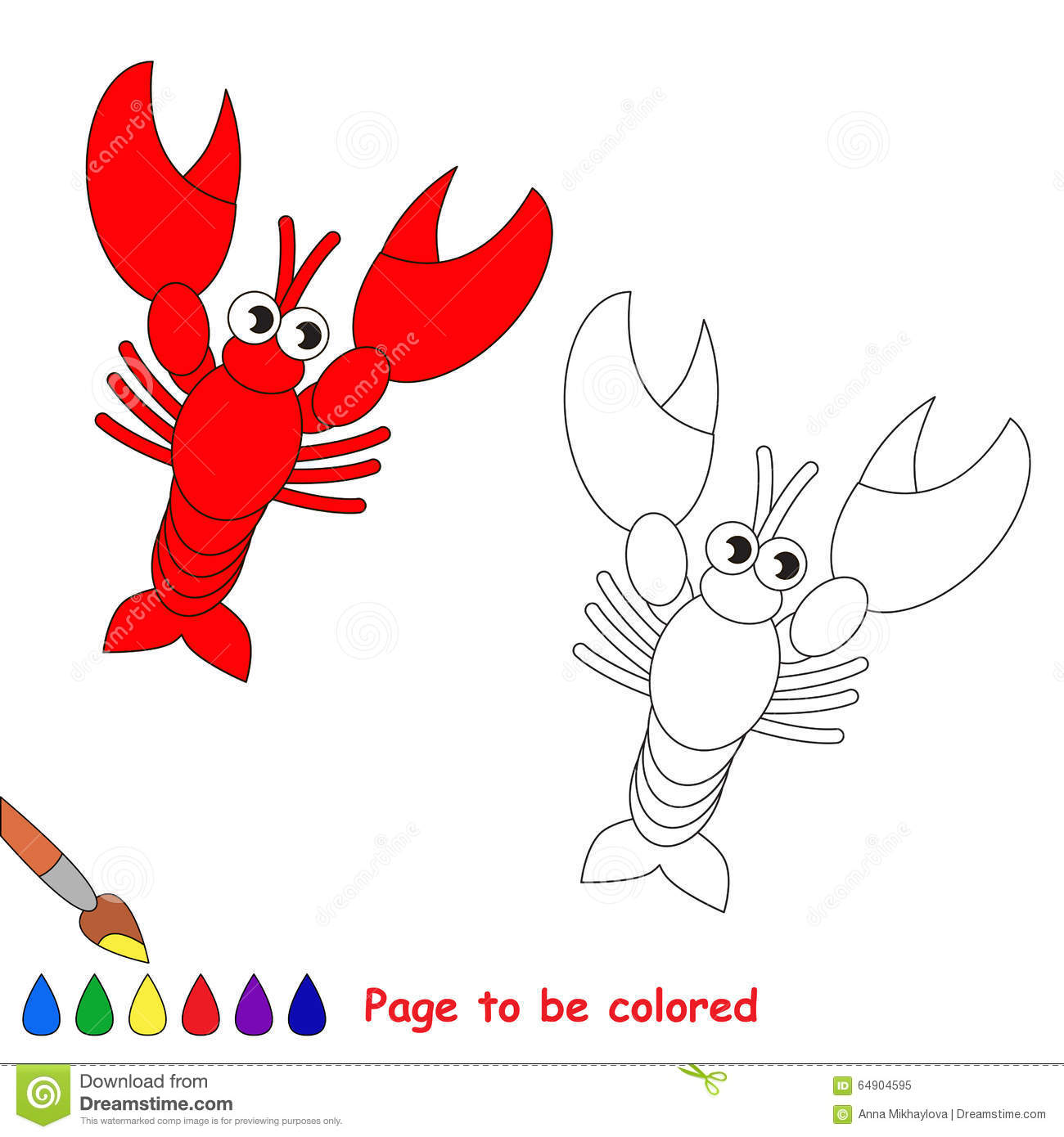 Lobster In Vector Cartoon To Be Colored Stock Vector