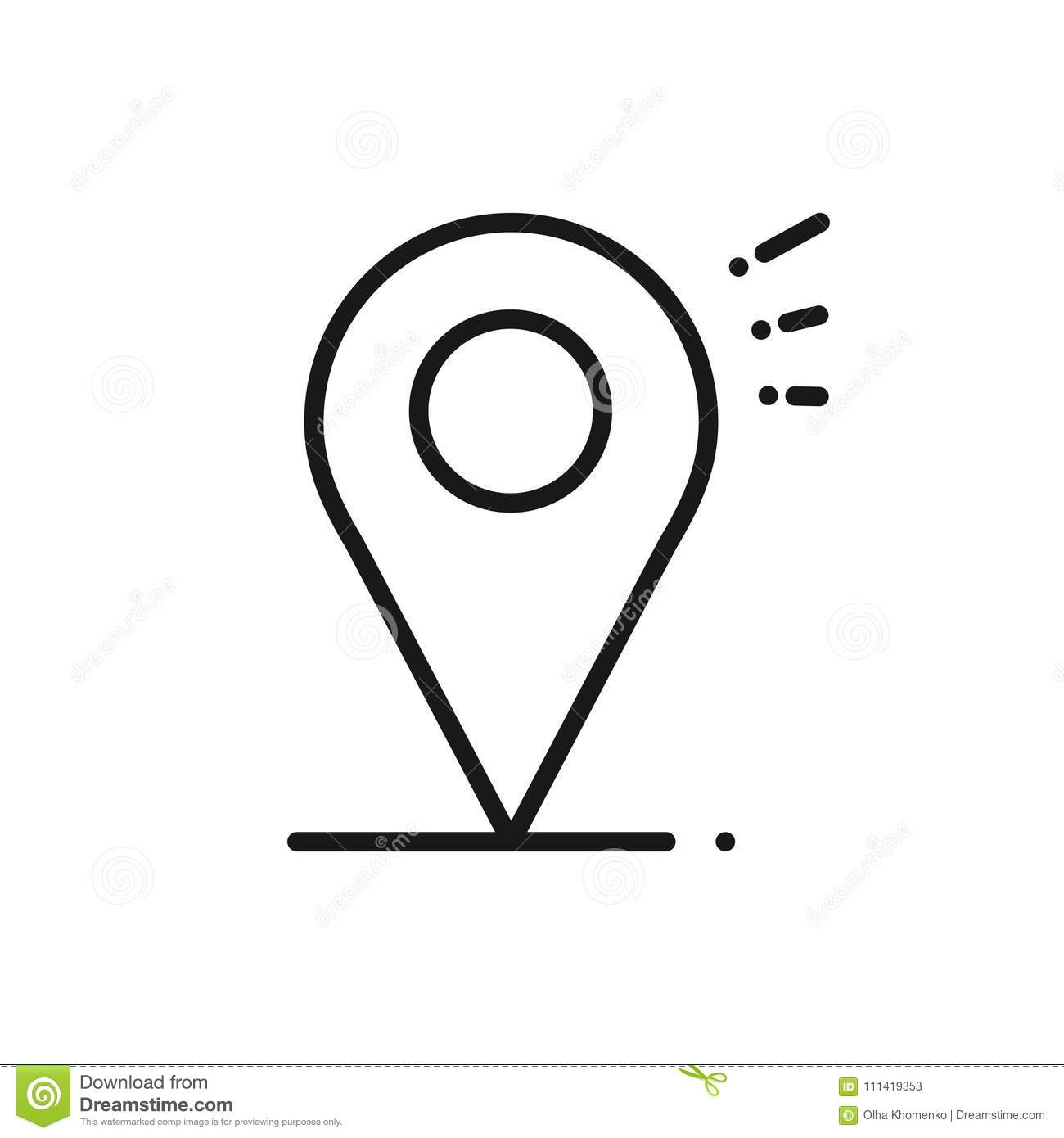 Location Line Icon Map Pin Pointer Sign And Symbol