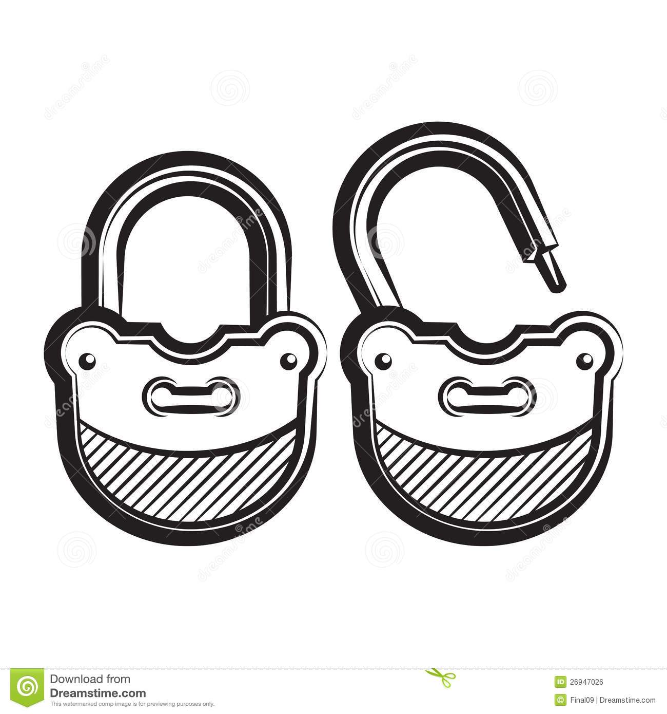 Lock Icon Black And White Vector Illustration Royalty
