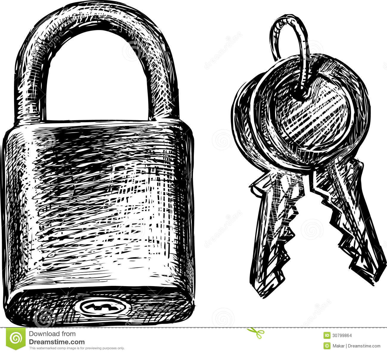 Lock And Keys Stock Vector Illustration Of Hand Article