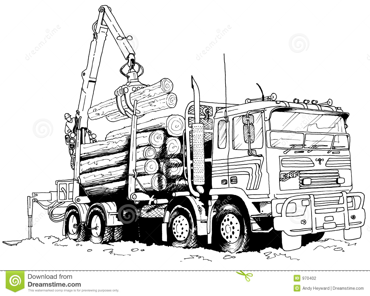 Logging Truck Stock Illustration Illustration Of Drawing