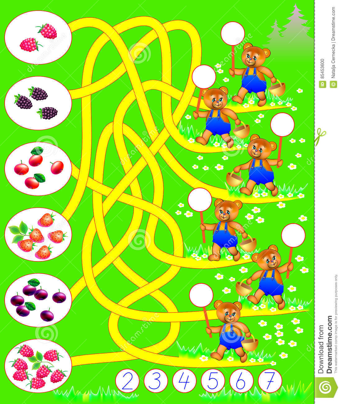 Logic Exercise For Young Children Count How Many Berries