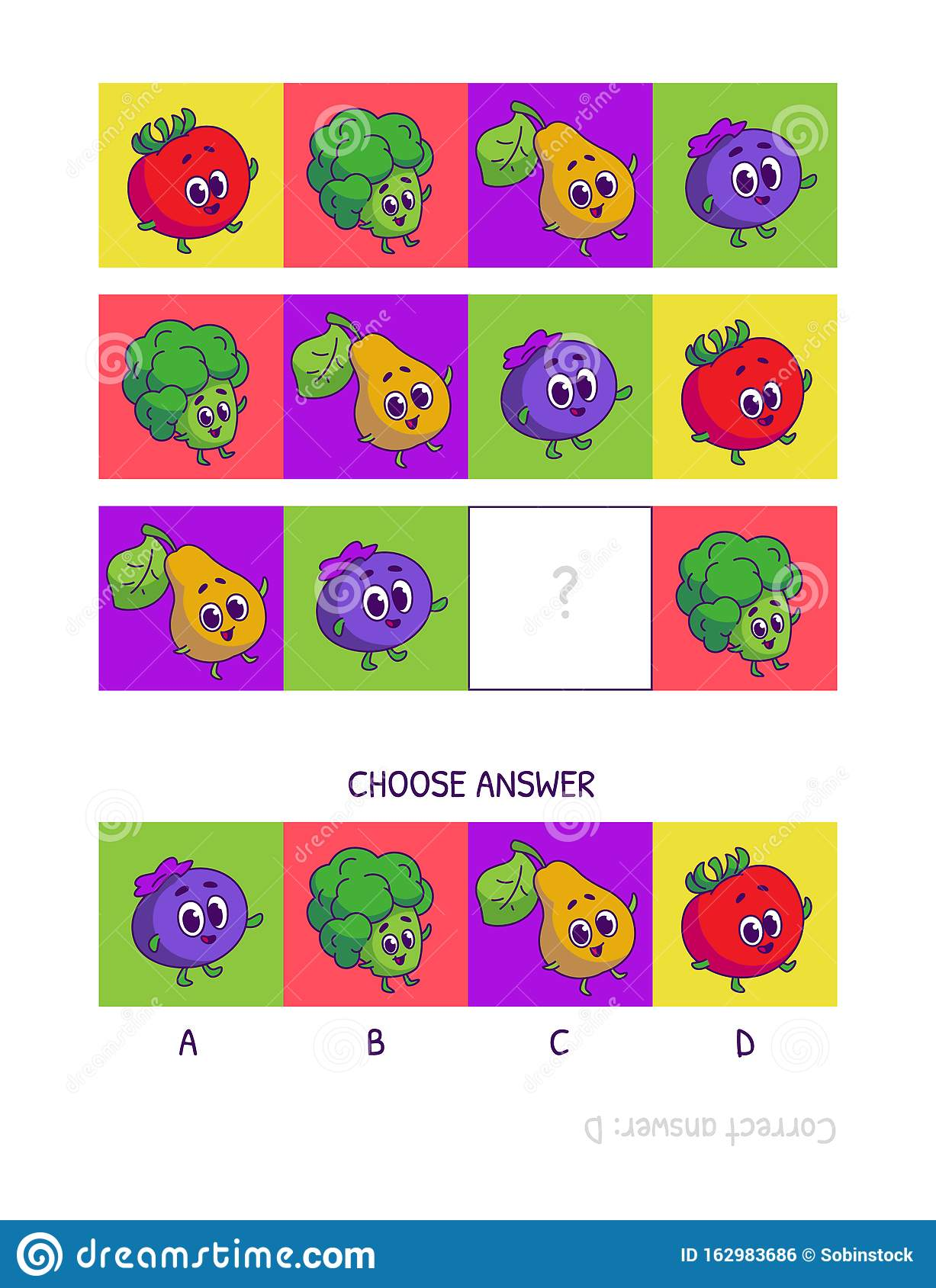 Cute Tomato Broccoli Pear Blueberries Logic Game For