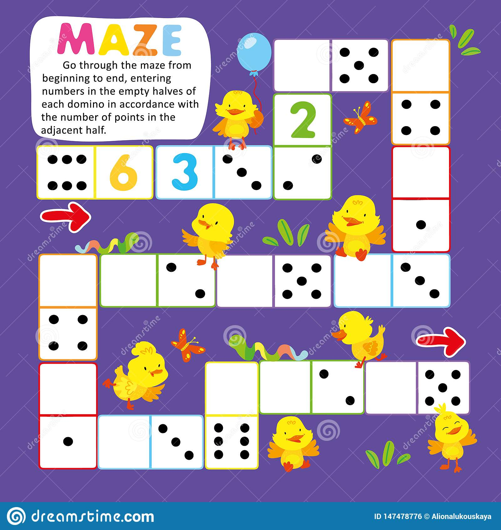 Logic Kid Learn Domino Game Printable Worksheet Stock