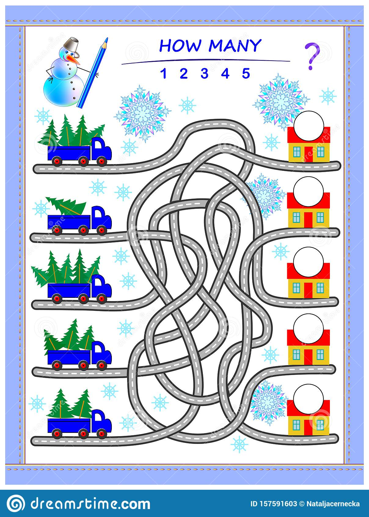 Logic Puzzle Game For Children With Labyrinth Count