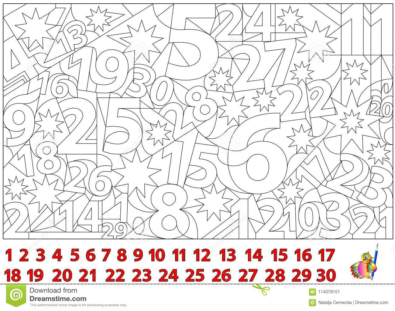 Logic Puzzle Game Find The Numbers Hidden In The Picture