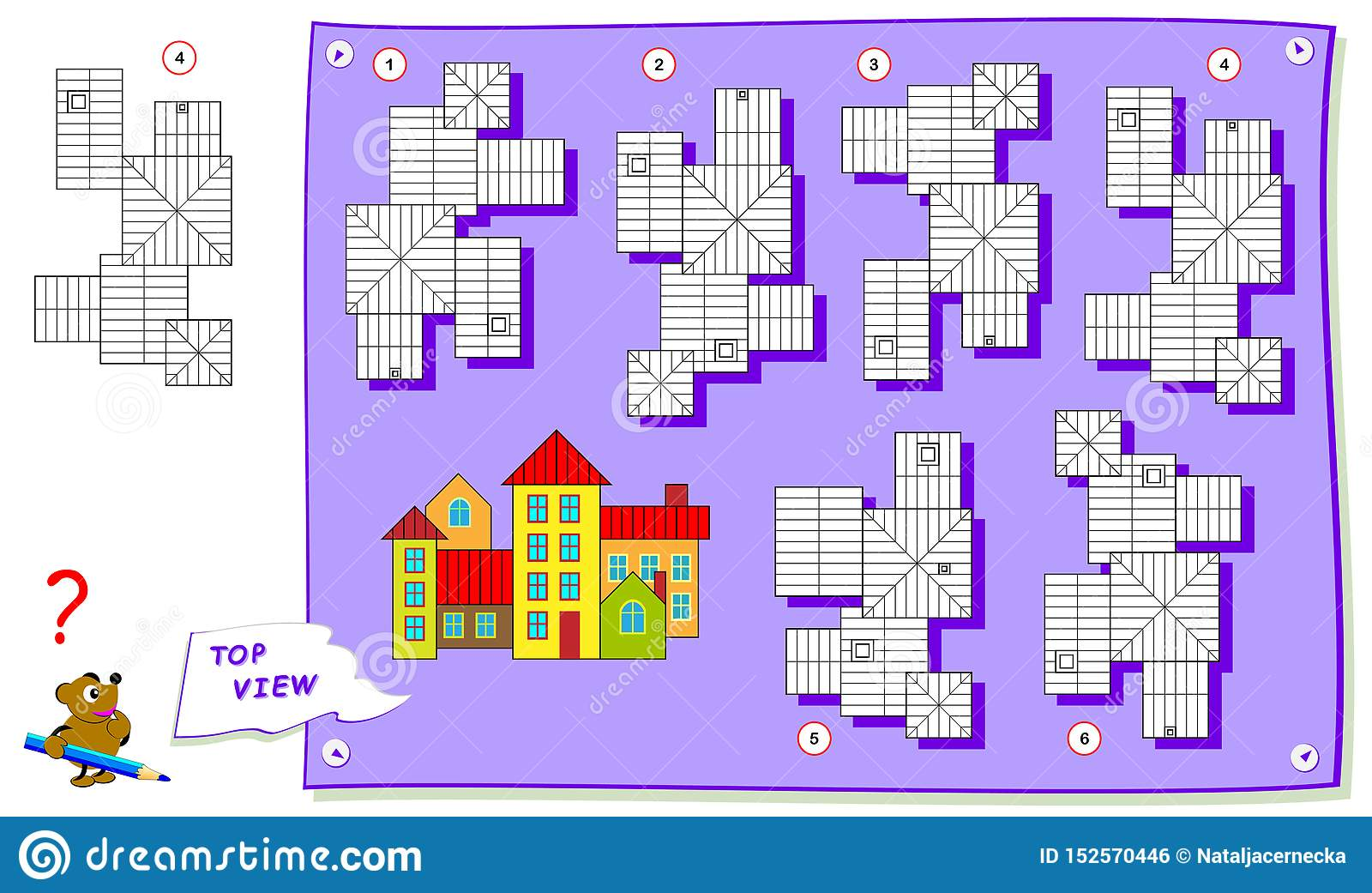 Logic Puzzle Game For Kids Need To Find Correct Top View