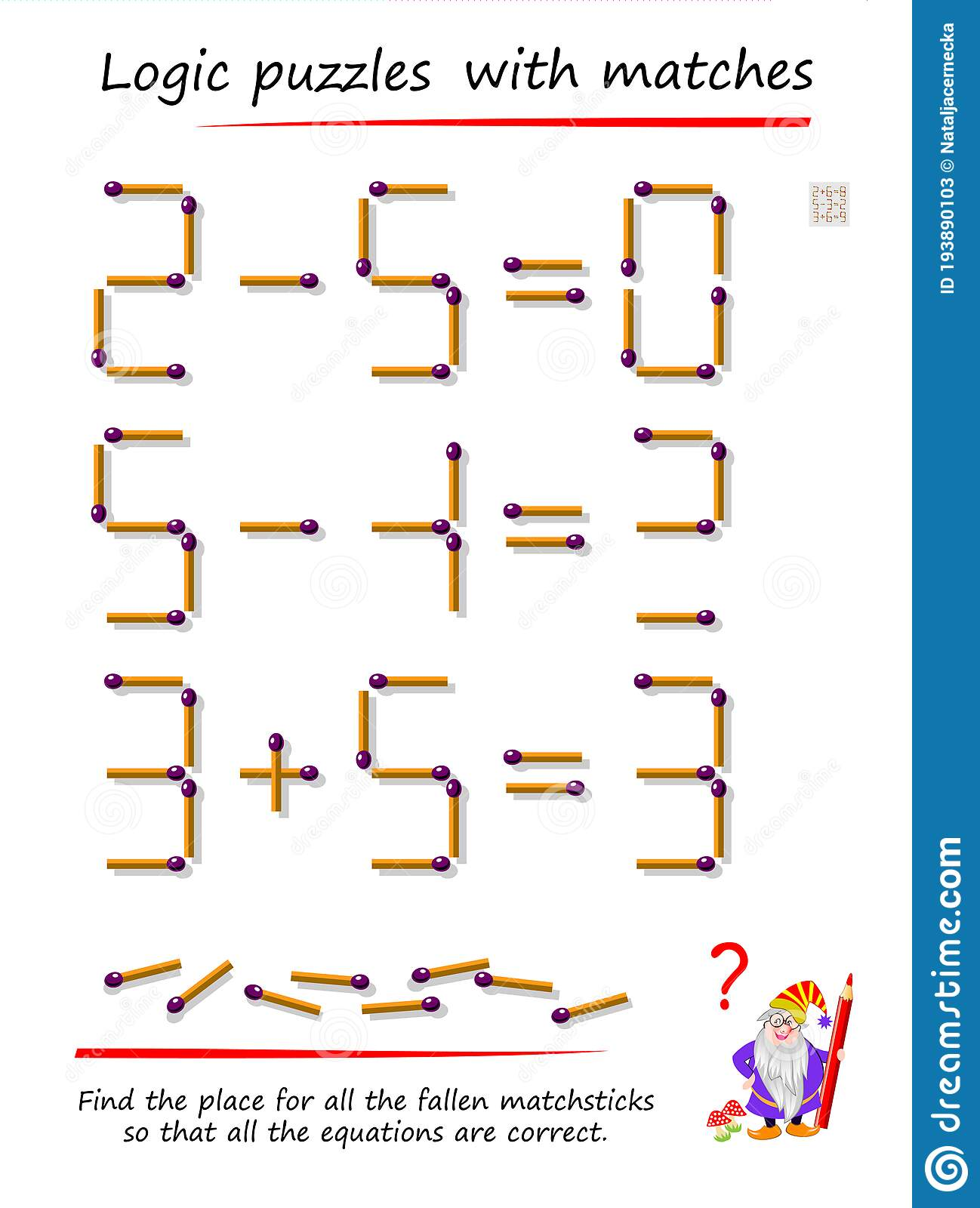 Logic Puzzle Game With Matches Find Place For All Fallen