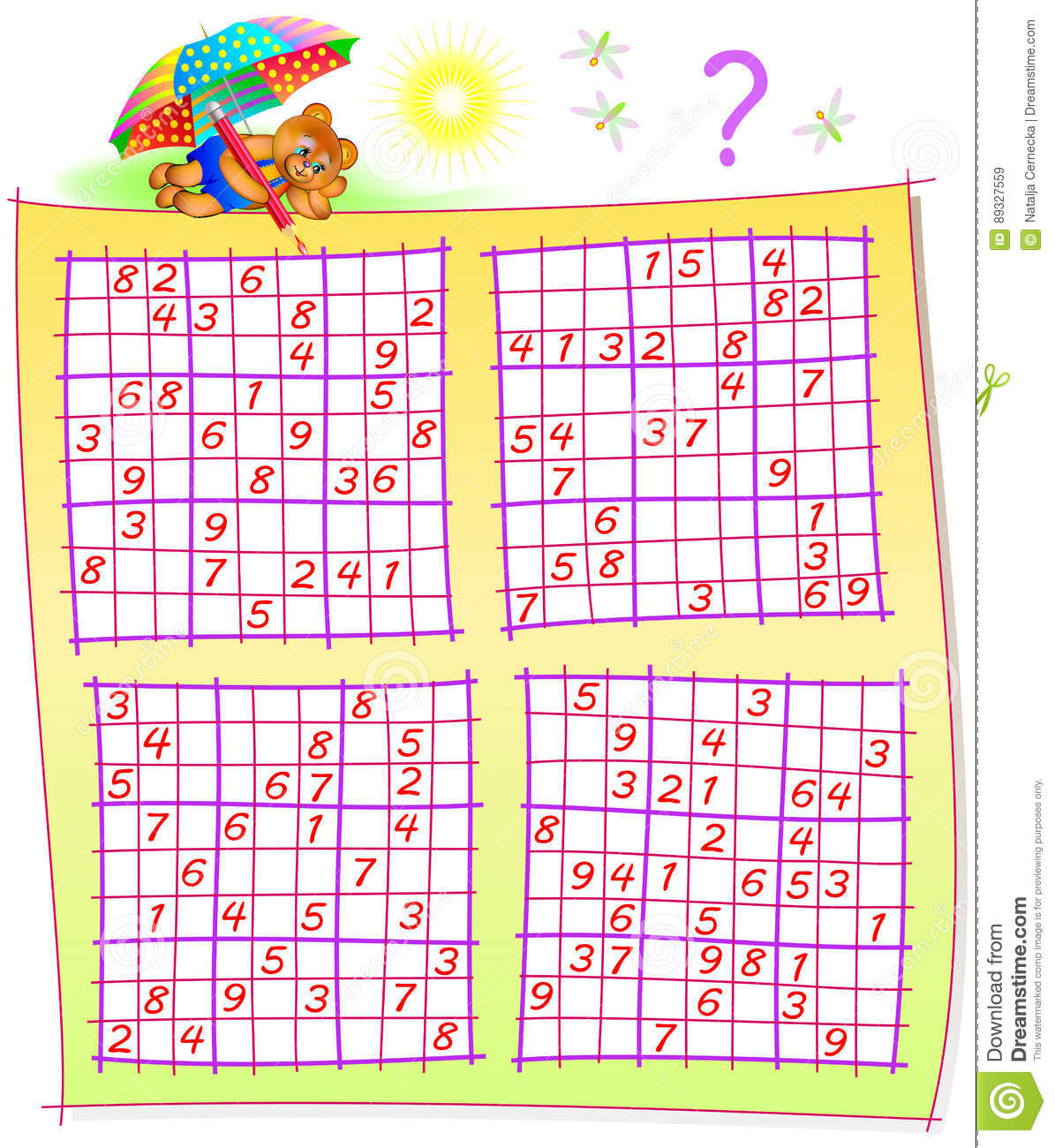 Logic Puzzle With Sudoku Games Worksheet For Children And