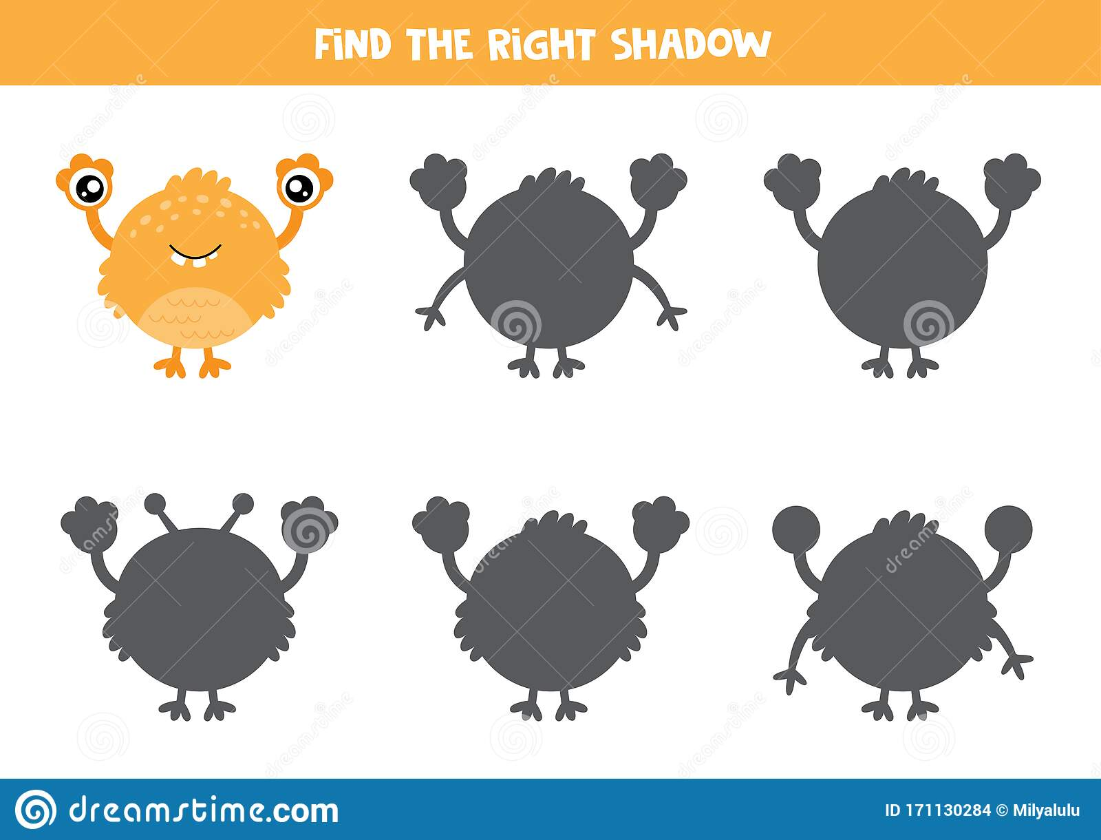 Logical Game For Kids Find The Correct Shadow Of Monster