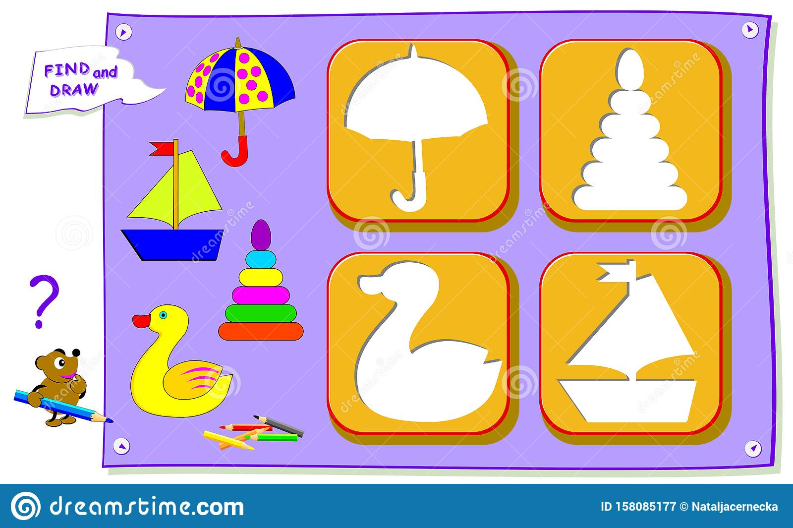 Logical Puzzle Game For Baby Coloring Book Find The Place