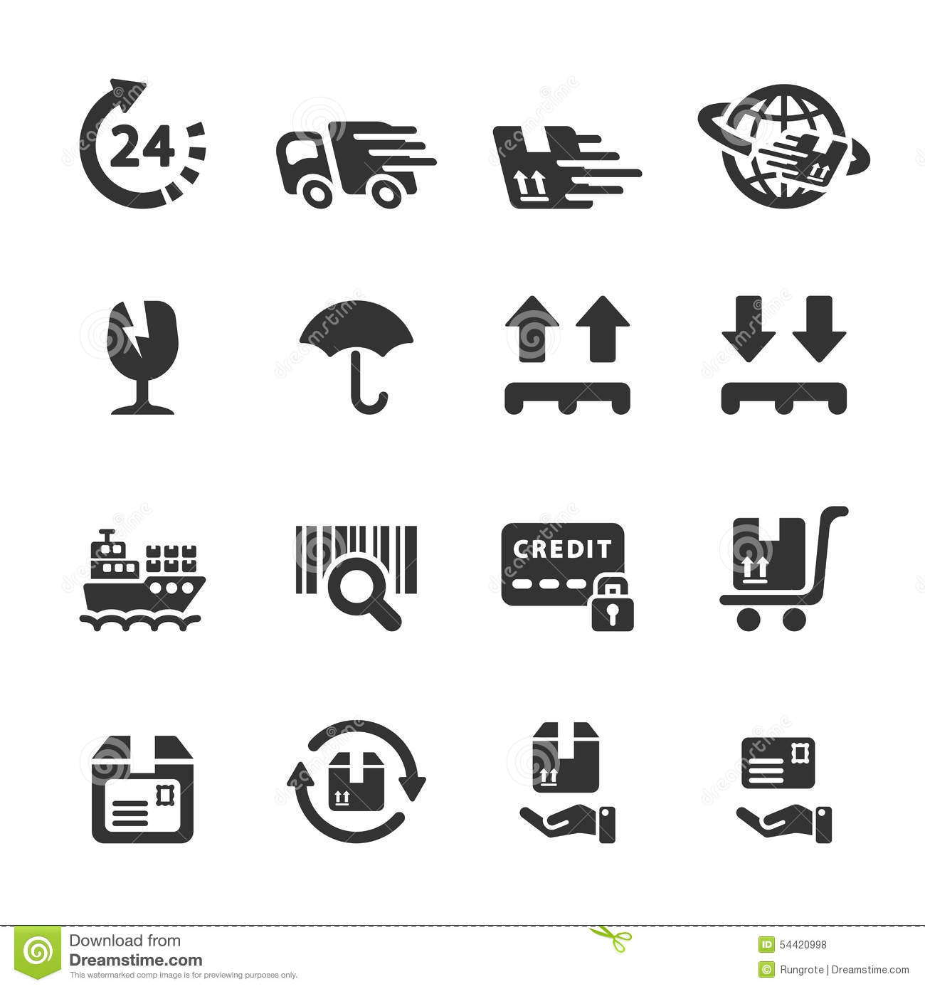 Logistic Icon Set 6 Vector Eps10 Stock Vector