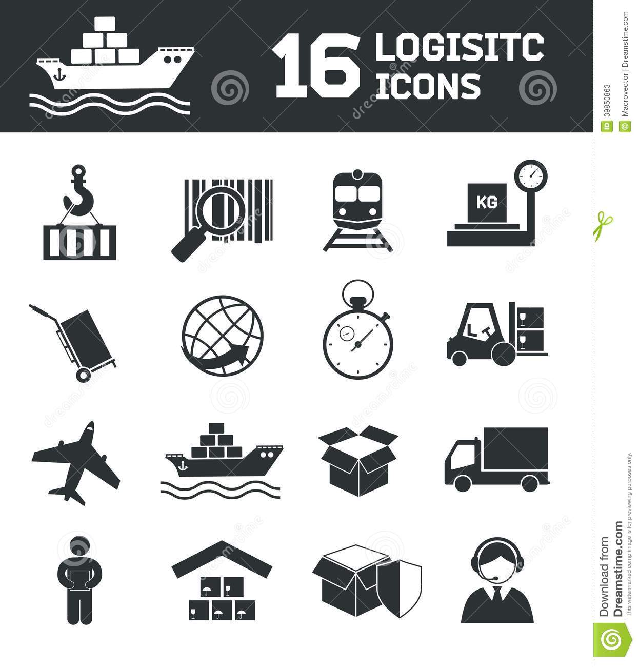 Logistic Icons Set Stock Vector Illustration Of Interface