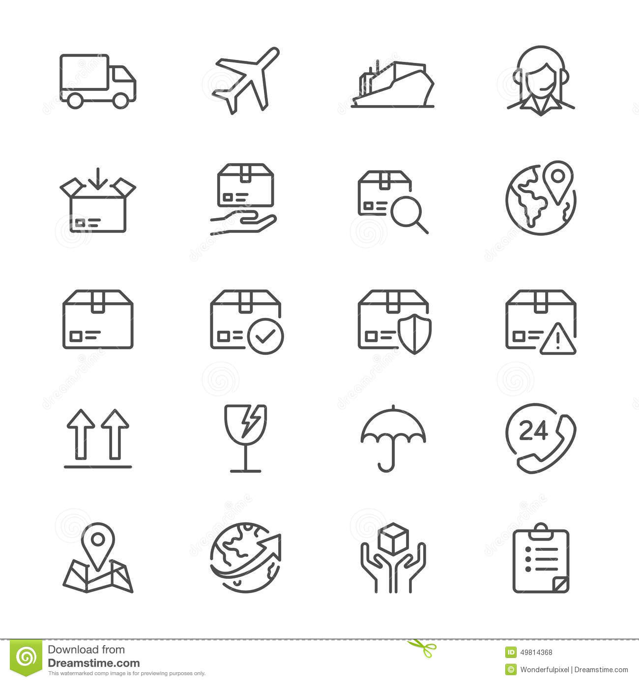 Logistics And Shipping Thin Icons Stock Vector