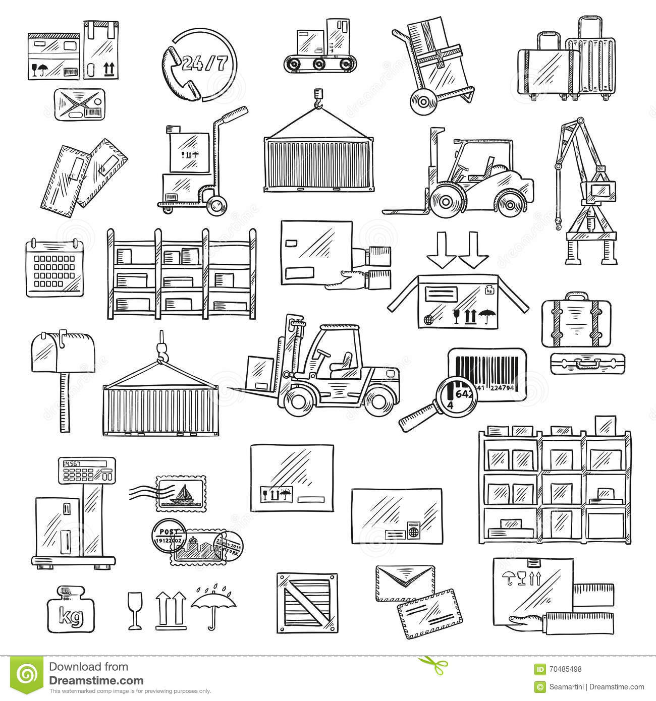 Logistics Storage And Delivery Sketches Stock Vector