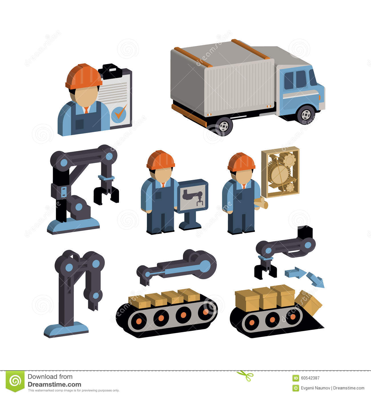 Warehouse Equipment Icons Cartoon Vector CartoonDealer