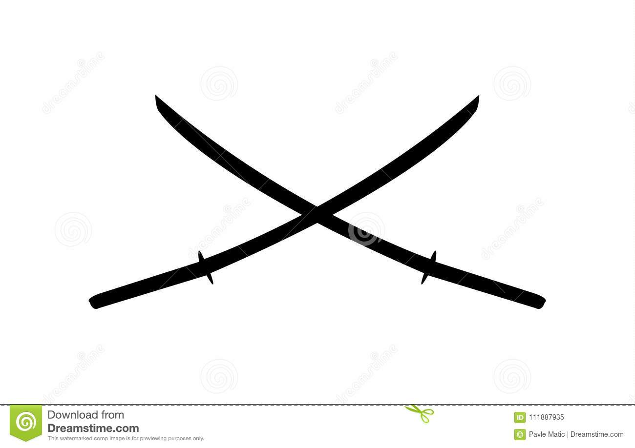 Two Katana Swords Crossed Logo And Silhouette Stock Vector
