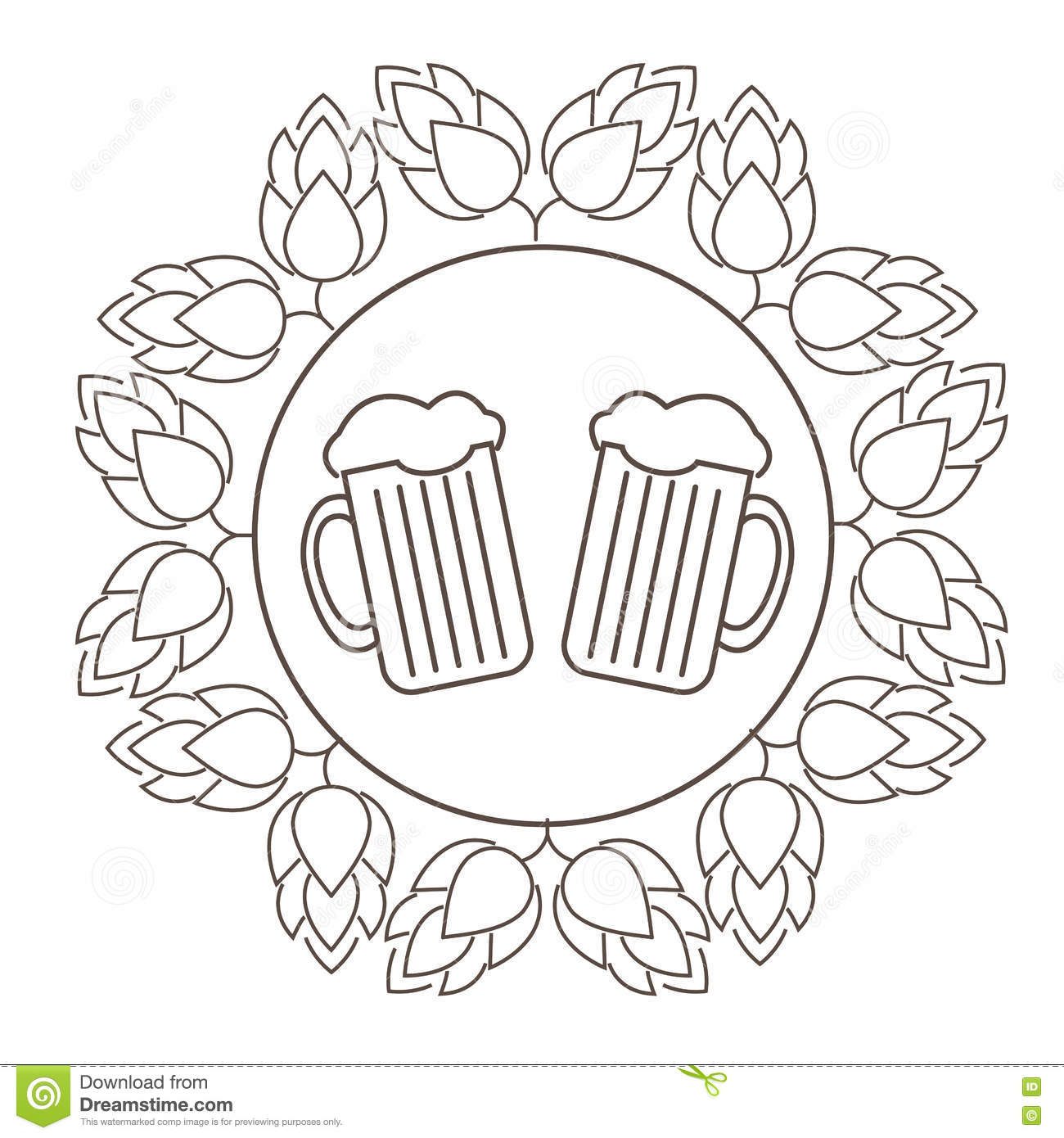 Brewer With Two Mugs Of Beer Cartoon Vector