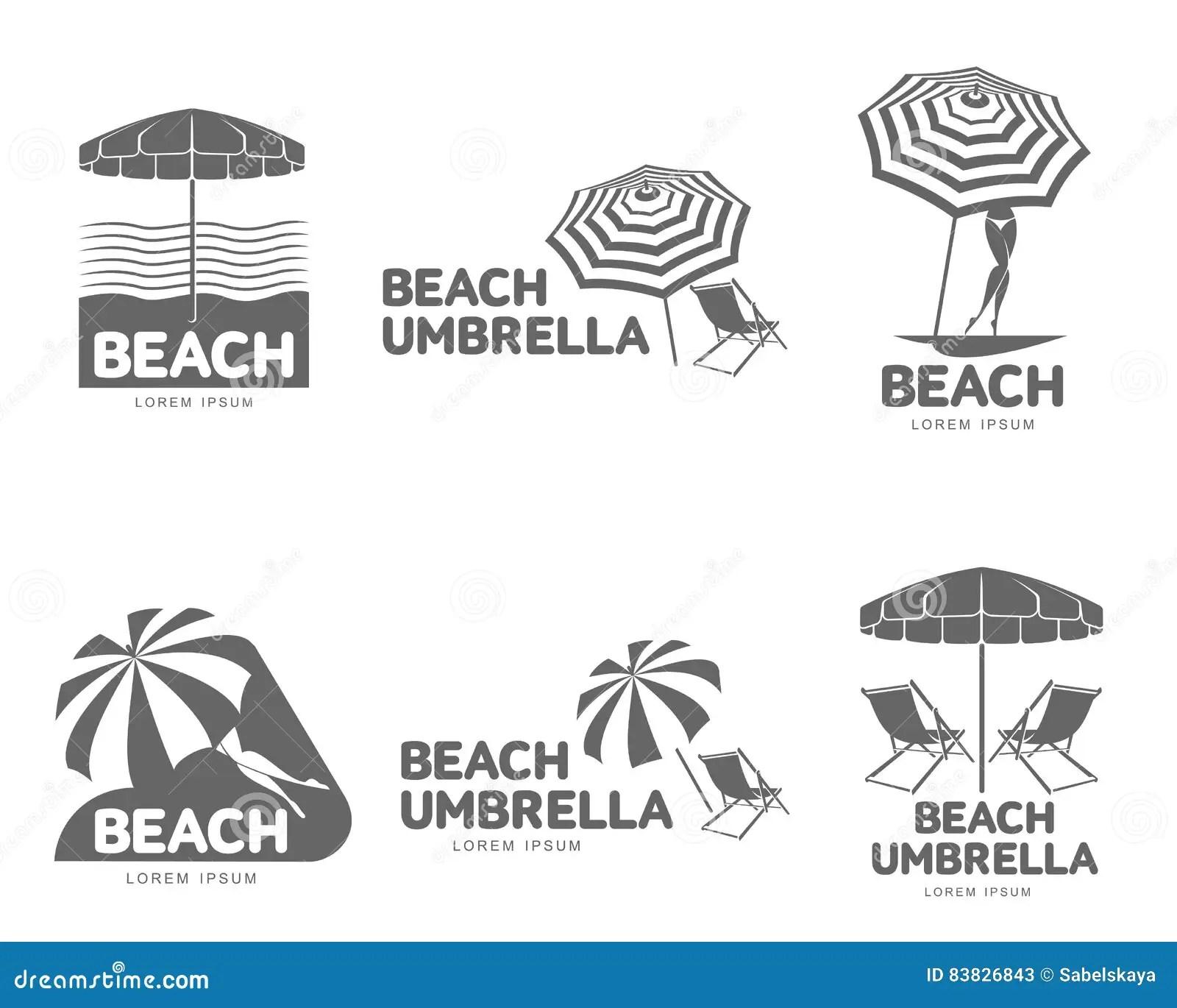 Logo Templates With Beach Umbrella And Sun Bathing Lounge