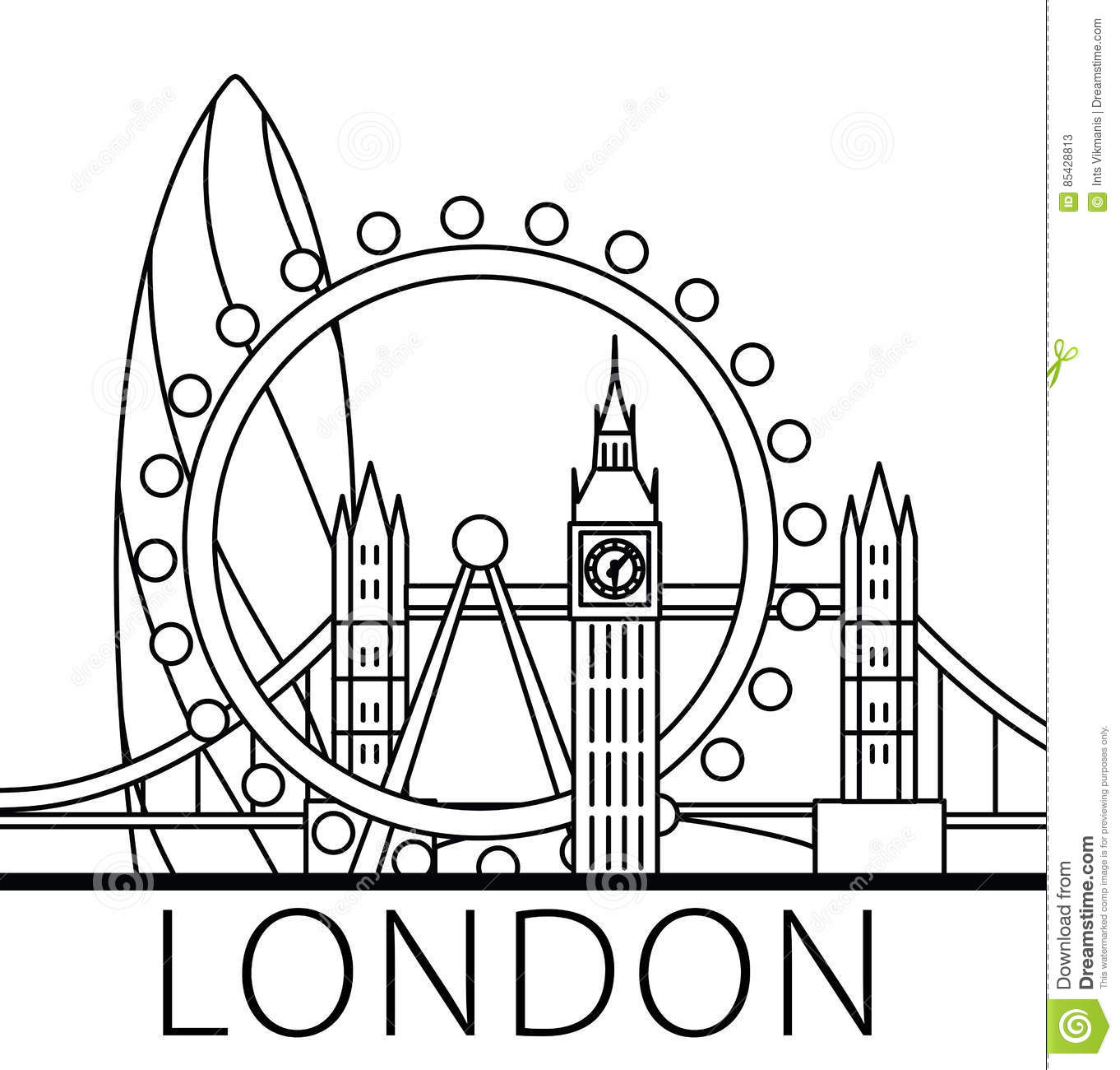London City Skyline Editorial Stock Photo Illustration Of