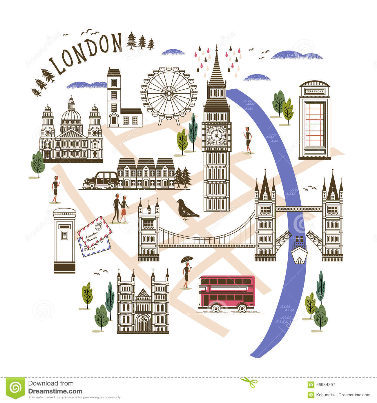 London Walking Map Stock Vector Illustration Of Culture