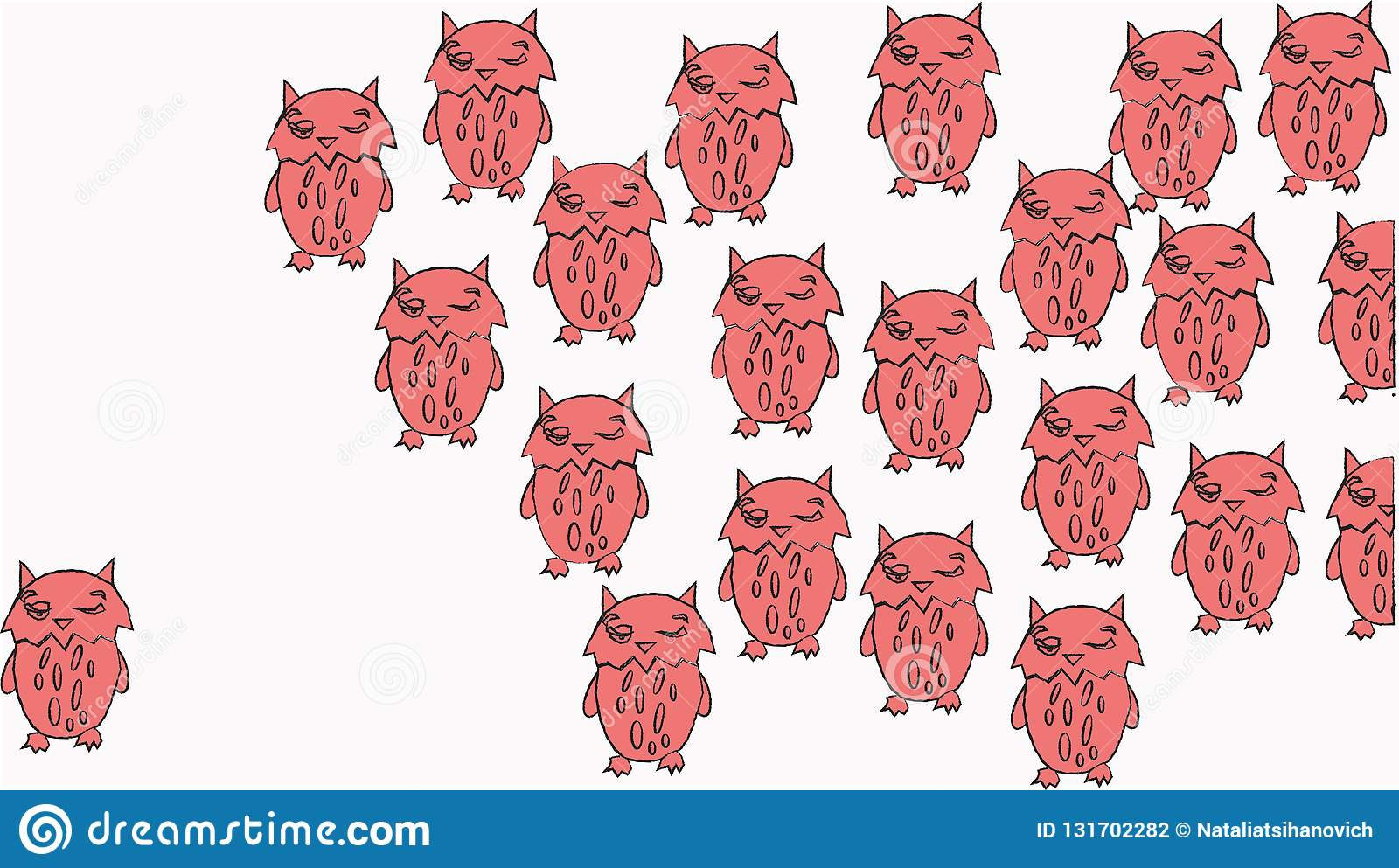 Colorful Owls With A Big Placard Vector Illustration