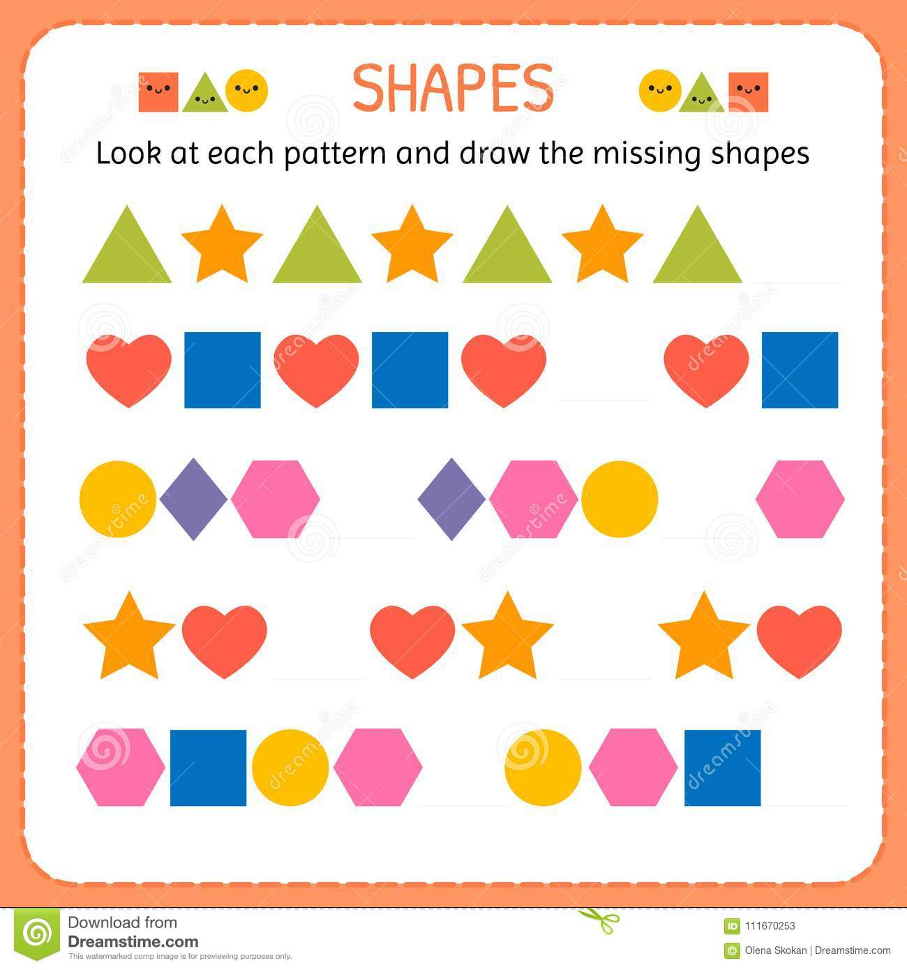 Look At Each Pattern And Draw The Missing Shapes Learn