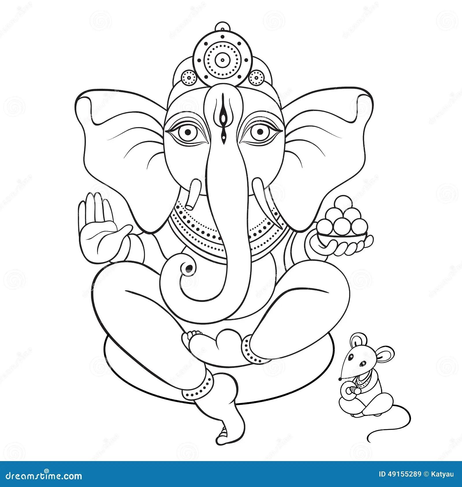 Lord Ganesha Hand Drawn Illustration Stock Vector