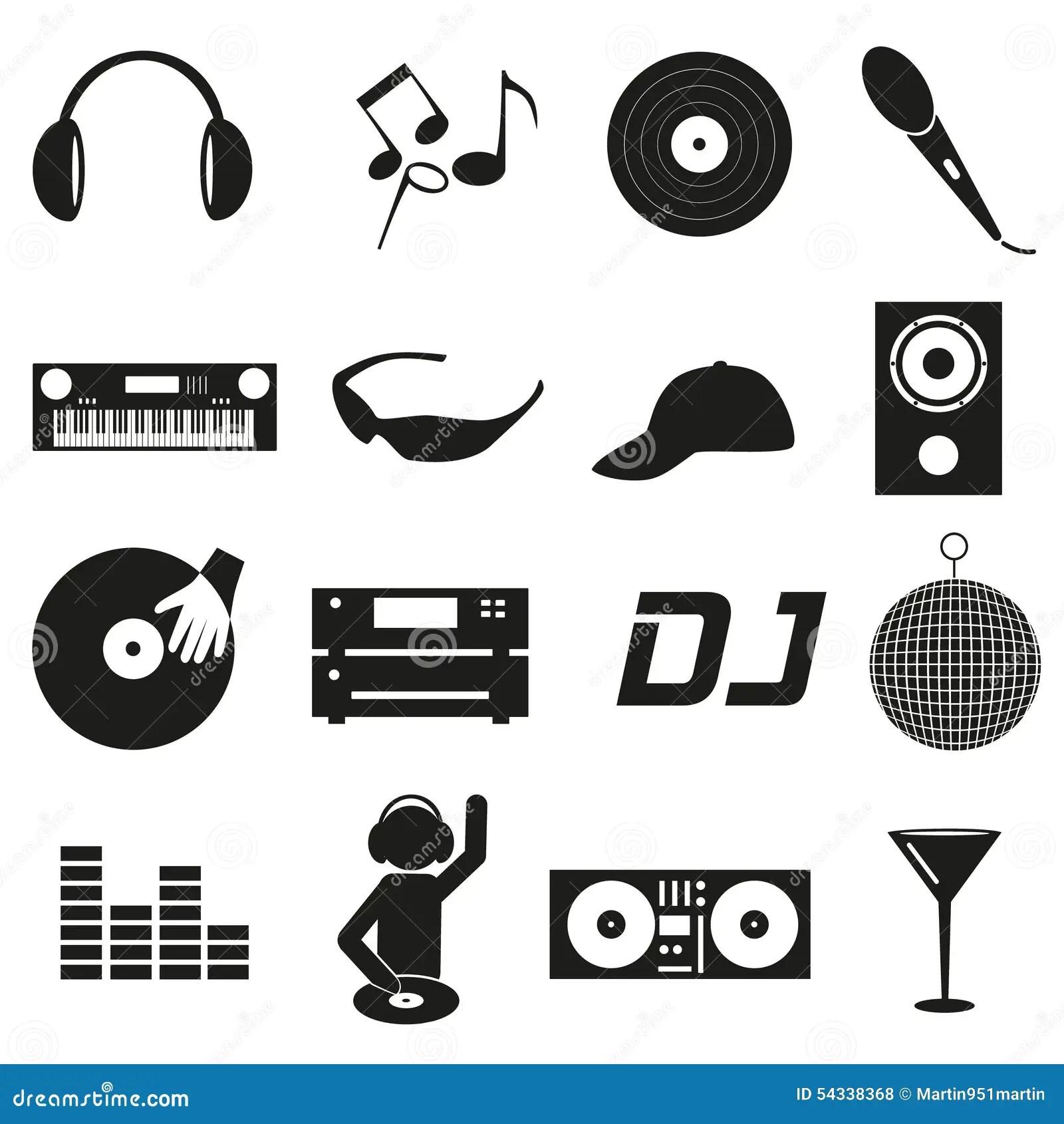 Los Iconos Simples Negros De Dj Del Club De La Musica