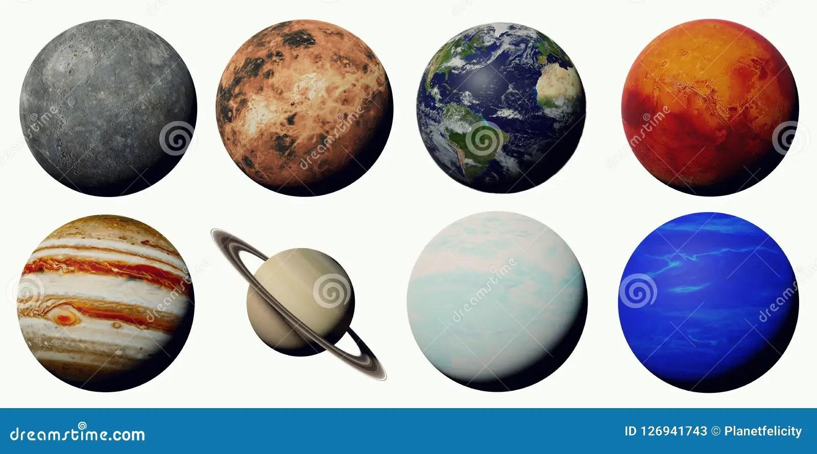 Los Planetas De La Sistema Solar Aislada En El Fondo