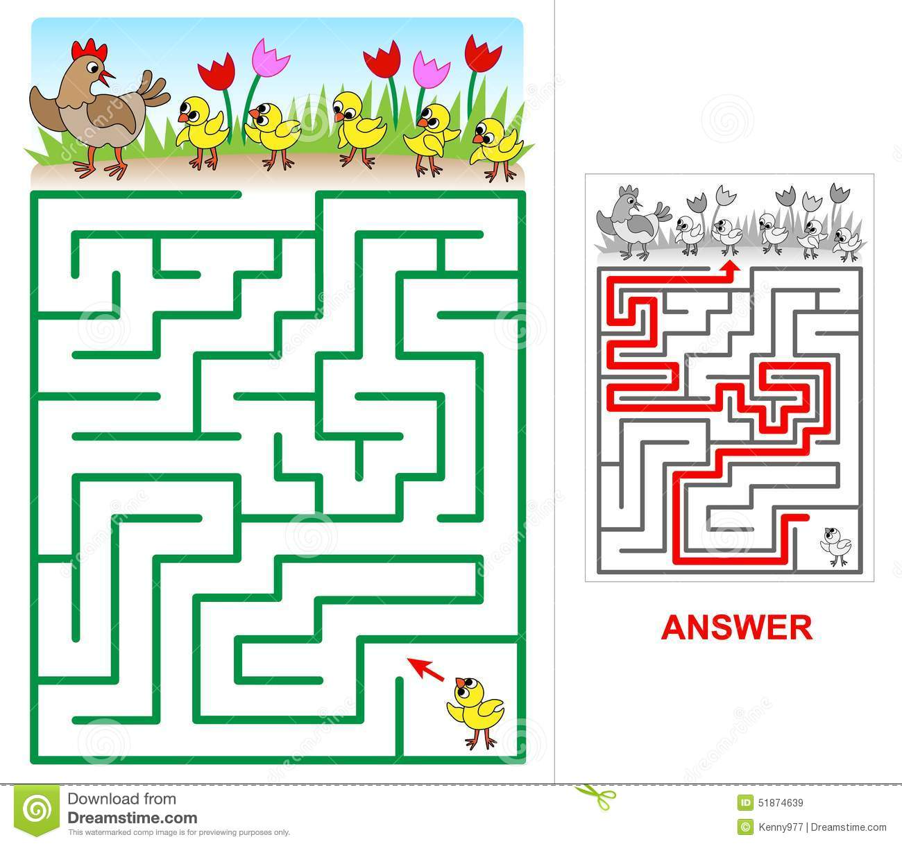 Lost Chicken Maze For Kids Stock Vector