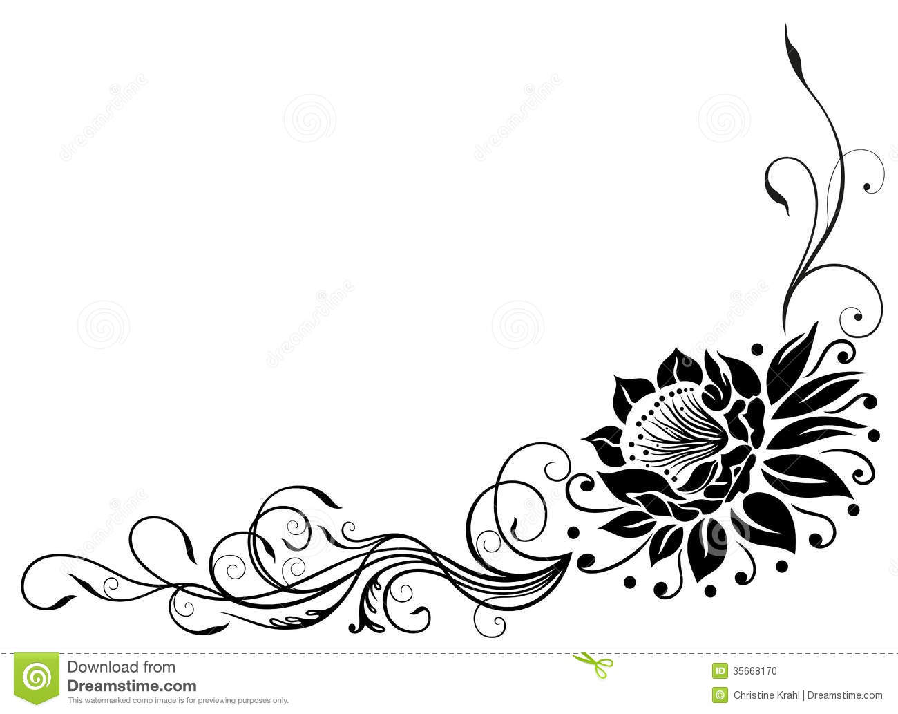 Lotus Border Stock Vector Illustration Of Flourishes
