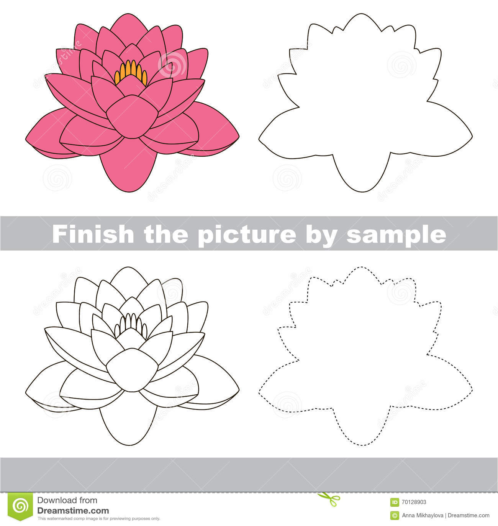 Lotus Drawing Worksheet Stock Vector Illustration Of