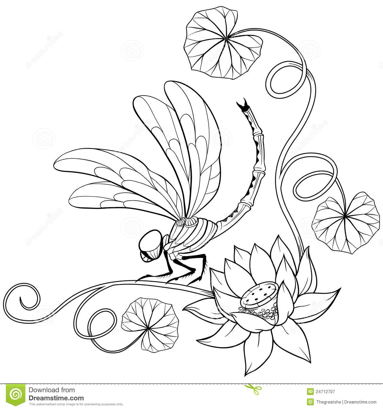 Lotus Flower Frame Corner With Dragonfly Stock Vector