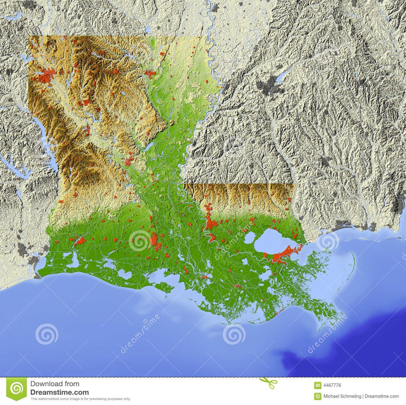 Louisiana Relief Map Royalty Free Stock Image
