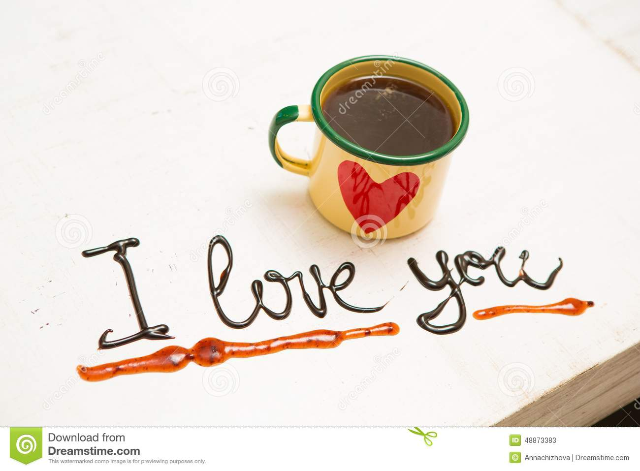 Love Coffee Cup And Handwriting I Love You Stock Image