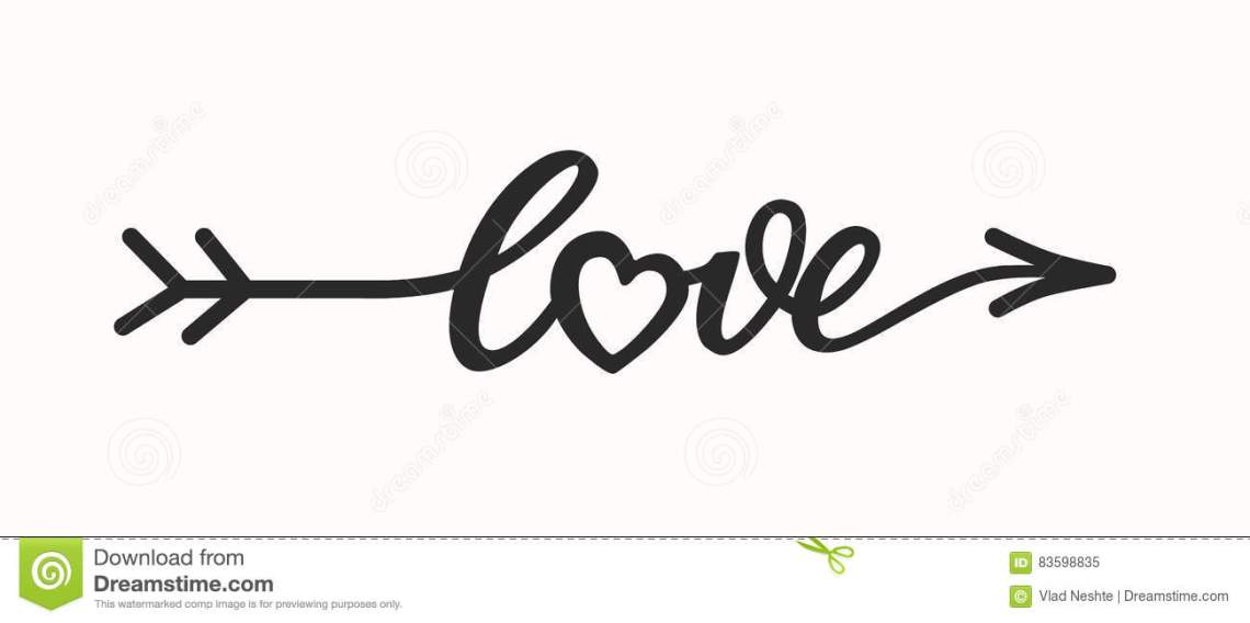 Download Love Hand Drawn Lettering In Form Arrow Stock Illustration ...