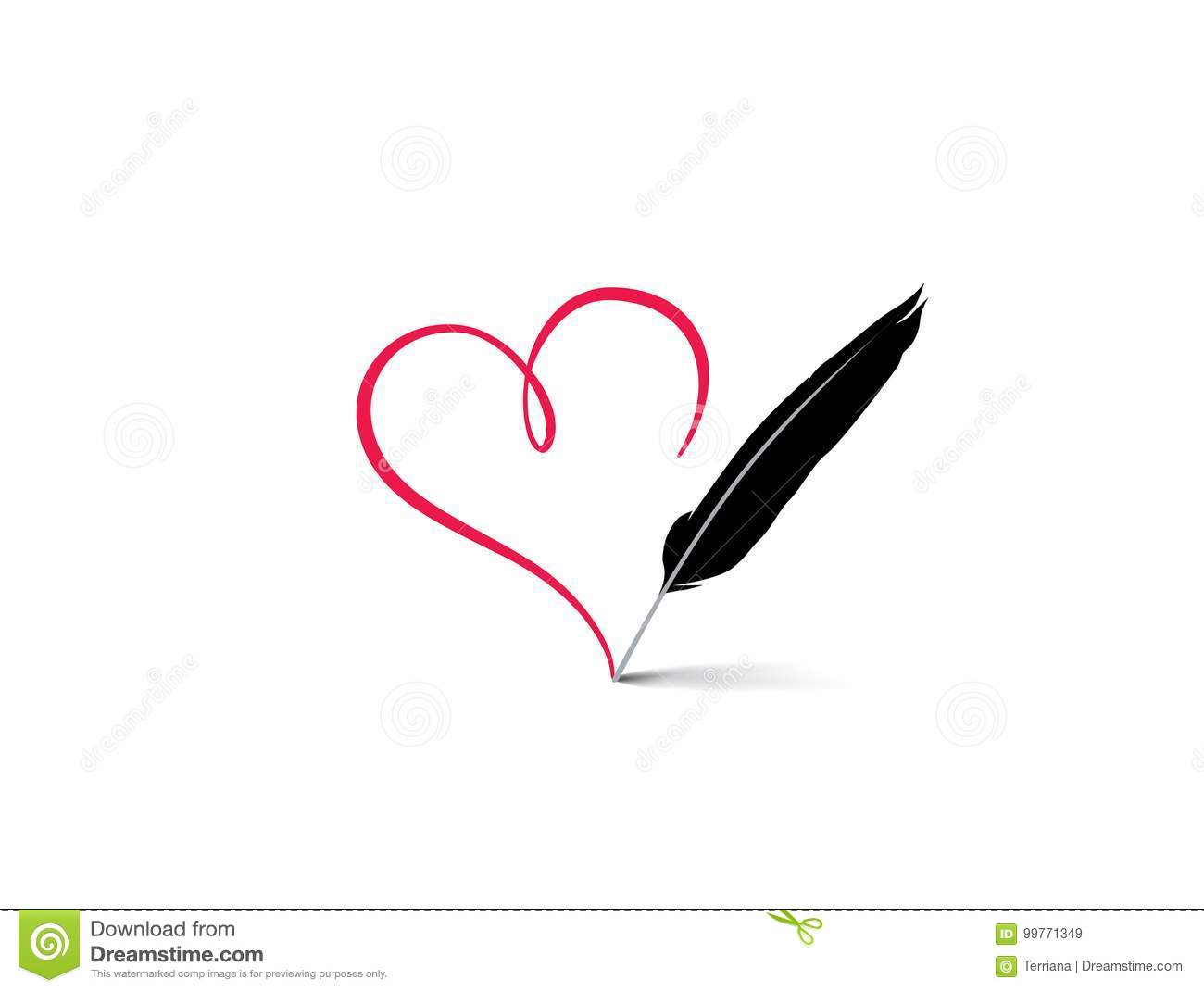 Love Heart Red Calligraphic Sign Drawn By Feather Pen