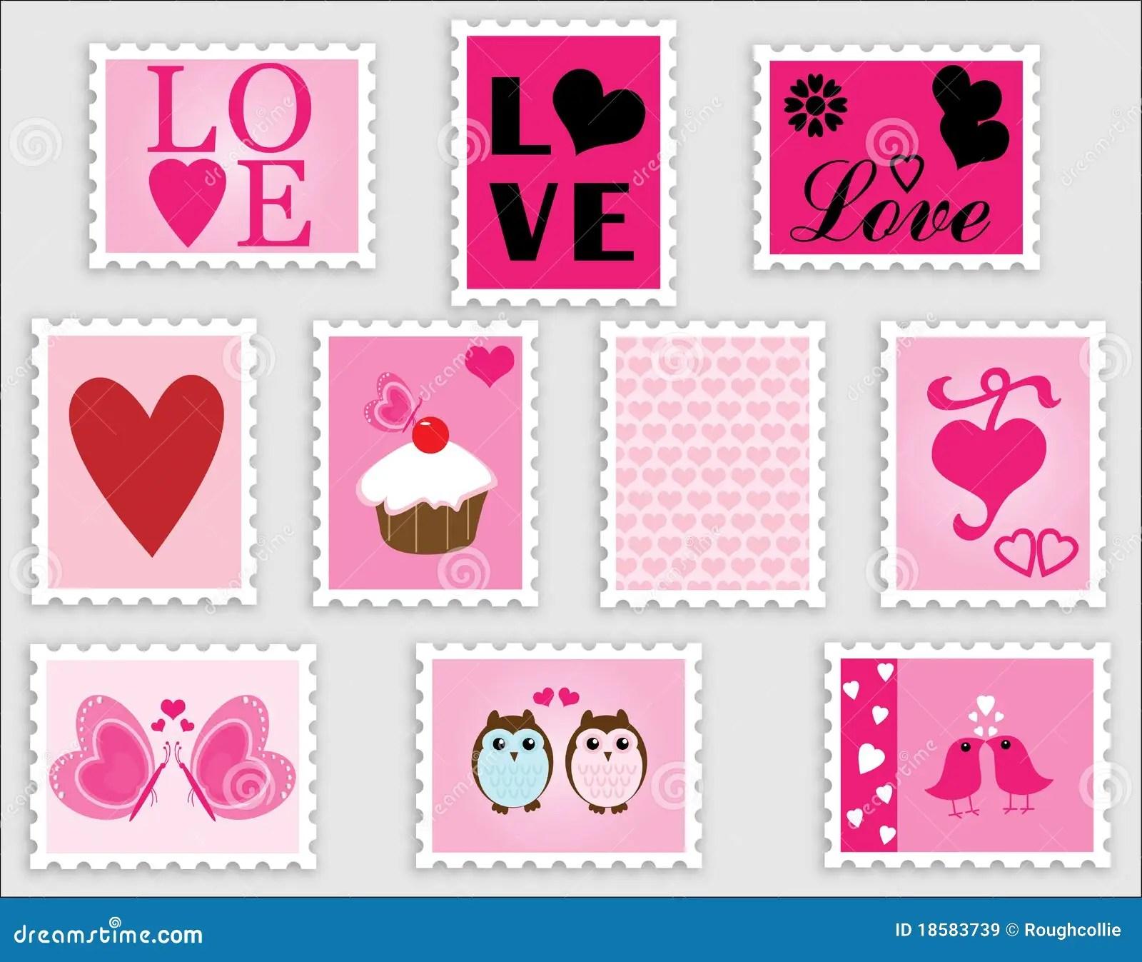 Love Heart Valentine Stamps Stock Illustration