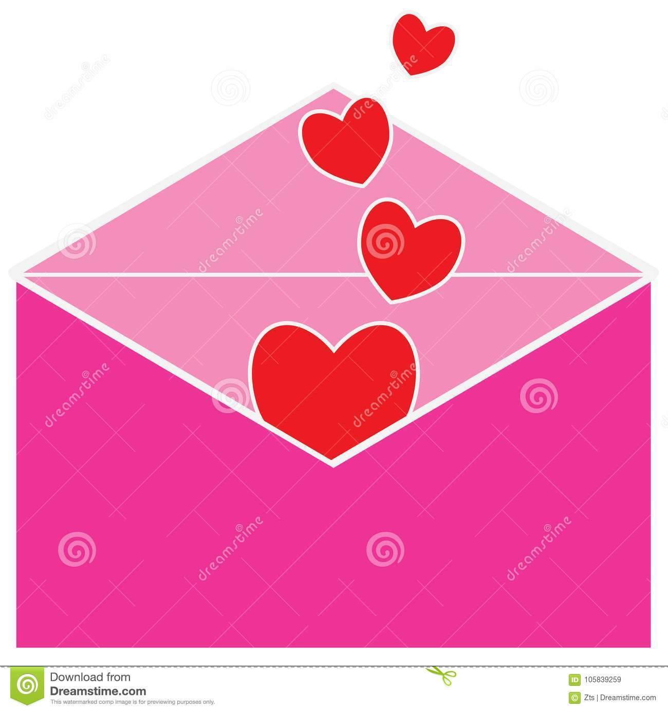 Love Letter For The Valentine Or Valentines Day Hearts Or Heart Shapes Stock Vector