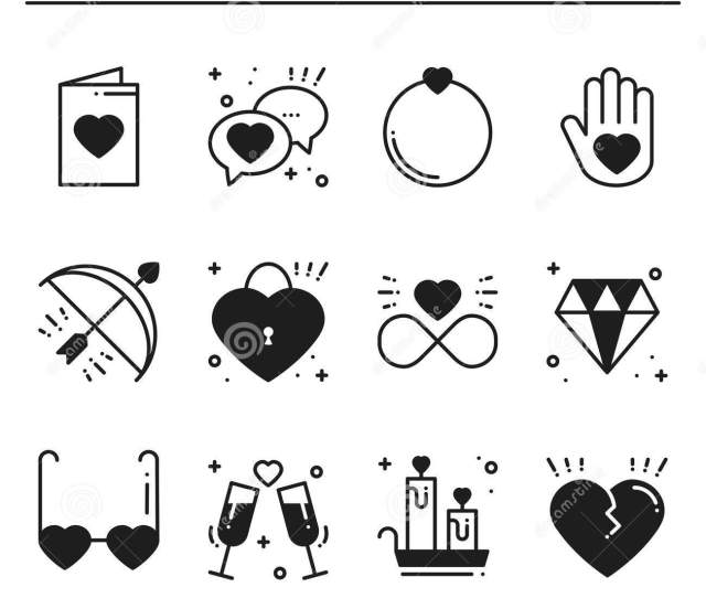 Love Line Icons Set Happy Valentine Day Silhouette Signs And Symbols Love Couple